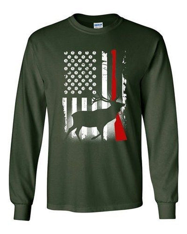 Long Sleeve Adult T-Shirt Deer Antlers Gun Hunting American Flag Patriotic DT