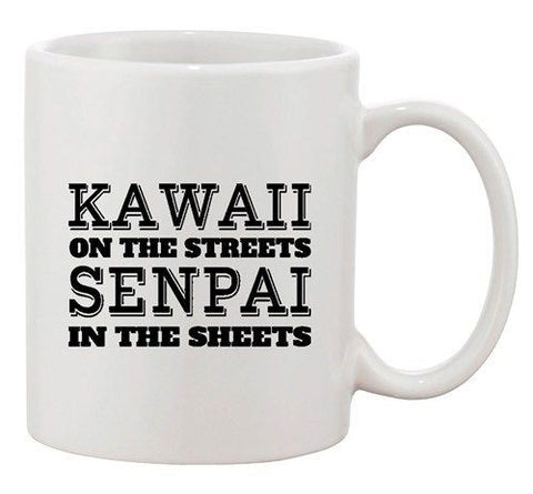 Kawaii On The Streets Senpai In The Sheets Anime DT Ceramic White Coffee Mug