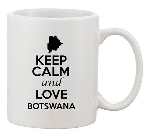 Keep Calm And Love Botswana Country Map Patriotic Ceramic White Coffee Mug