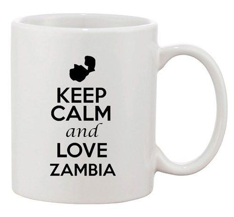 Keep Calm And Love Zambia Africa Country Map Patriotic Ceramic White Coffee Mug