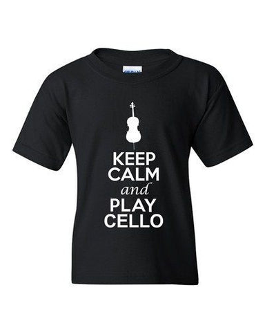 City Shirts Keep Calm And Play Cello Music Lover DT Youth Kids T-Shirt Tee