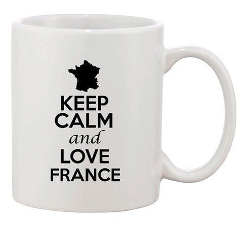 Keep Calm And Love France Paris Country Map Patriotic Ceramic White Coffee Mug