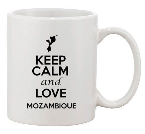Keep Calm And Love Mozambique Country Map Patriotic Ceramic White Coffee Mug