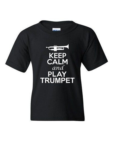 City Shirts Keep Calm And Play Trumpet Music Lover DT Youth Kids T-Shirt Tee