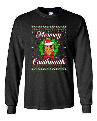 Long Sleeve Adult T-Shirt Mewwy Cwithmath Xmas Tyson Boxer Ugly Christmas DT