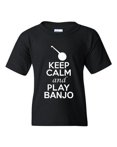 City Shirts Keep Calm And Play Banjo Music Lover DT Youth Kids T-Shirt Tee