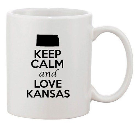 Keep Calm And Love Kansas Country Map USA Patriotic Ceramic White Coffee Mug