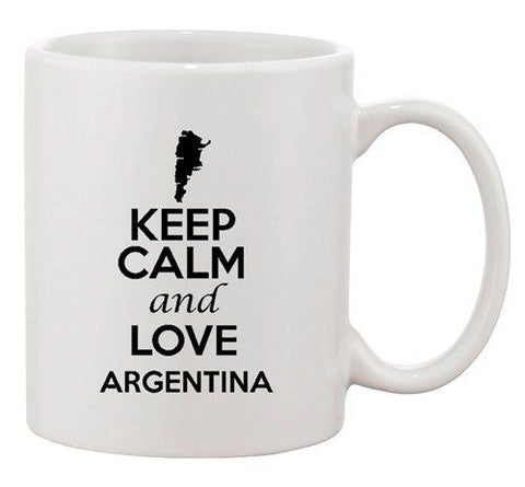 Keep Calm And Love Argentina Country Map Patriotic Ceramic White Coffee Mug