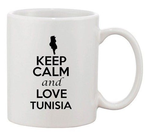 Keep Calm And Love Tunisia Africa Country Map Patriotic Ceramic White Coffee Mug