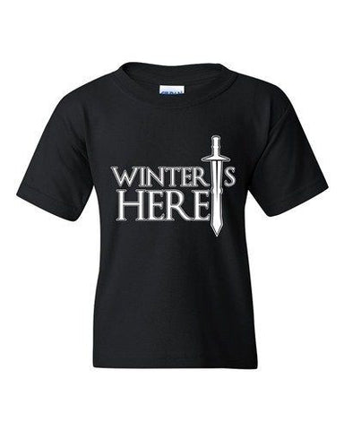 Winter Is Here Sword TV Parody Funny DT Youth Kids T-Shirt Tee