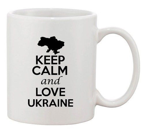 Keep Calm And Love Ukraine Europe Country Map Patriotic Ceramic White Coffee Mug