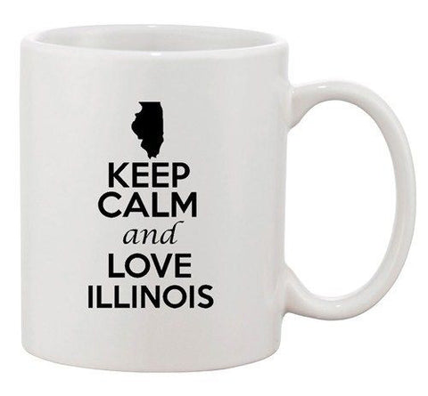 Keep Calm And Love Illinois Country Map USA Patriotic Ceramic White Coffee Mug