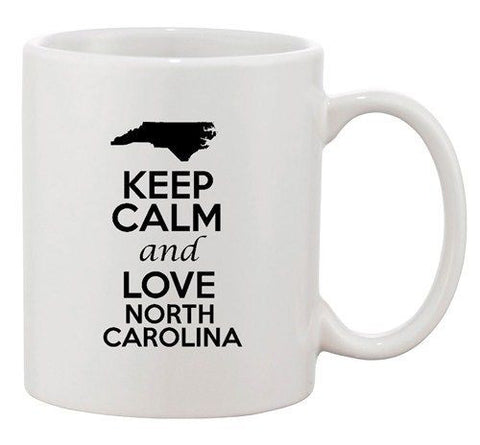 Keep Calm And Love North Carolina Country Map Patriotic Ceramic White Coffee Mug