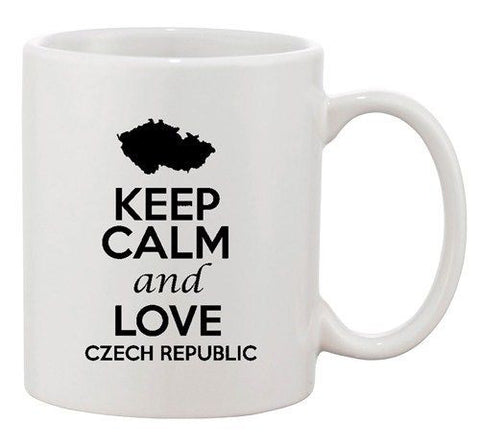 Keep Calm And Love Czech Republic Country Map Patriotic Ceramic White Coffee Mug