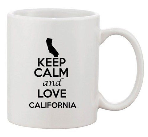 Keep Calm And Love California Country Map Patriotic Ceramic White Coffee Mug