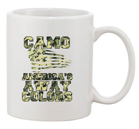 Camo America's Away Colors USA United States Patriotic DT White Coffee Mug