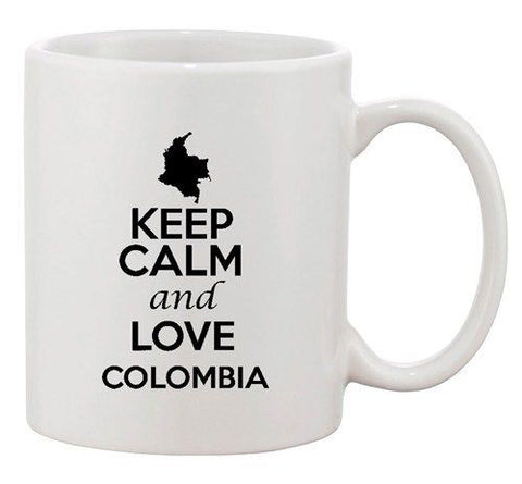Keep Calm And Love Colombia Country Map USA Patriotic Ceramic White Coffee Mug