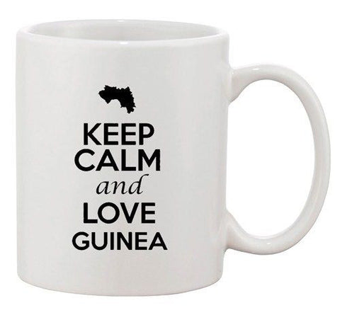 Keep Calm And Love Guinea Africa Country Map Patriotic Ceramic White Coffee Mug