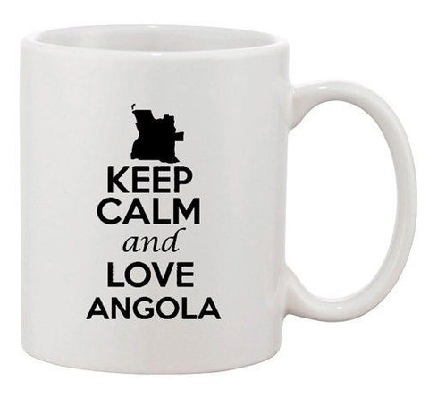 Keep Calm And Love Angola Africa Country Map Patriotic Ceramic White Coffee Mug