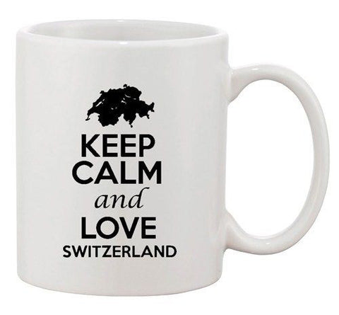 Keep Calm And Love Switzerland Country Map Patriotic Ceramic White Coffee Mug