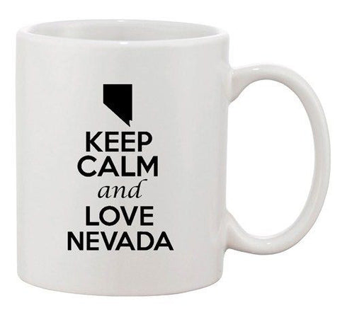Keep Calm And Love Nevada Country Map USA Patriotic Ceramic White Coffee Mug