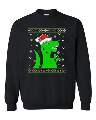 T-Rex Christmas Dinosaur Ugly Xmas Holiday Snow Funny DT Crewneck Sweatshirt