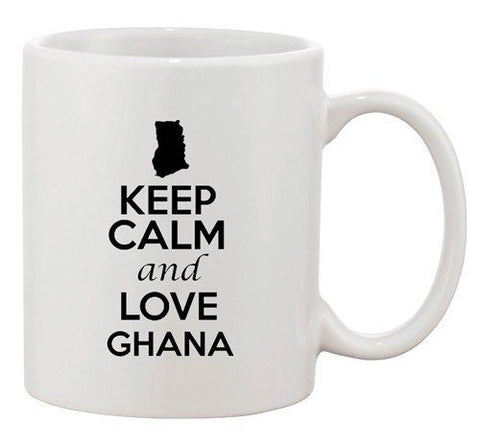 Keep Calm And Love Ghana Accra Country Map Patriotic Ceramic White Coffee Mug