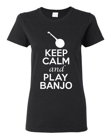 City Shirts Ladies Keep Calm And Play Banjo String Music Lover DT T-Shirt Tee
