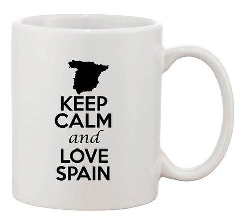 Keep Calm And Love Spain Madrid Country Map Patriotic Ceramic White Coffee Mug