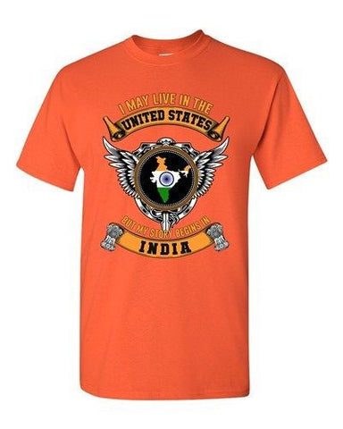 I May Live In US But My Story Begins In Indian Native Adult DT T-Shirt Tee