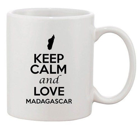 Keep Calm And Love Madagascar Country Map Patriotic Ceramic White Coffee Mug