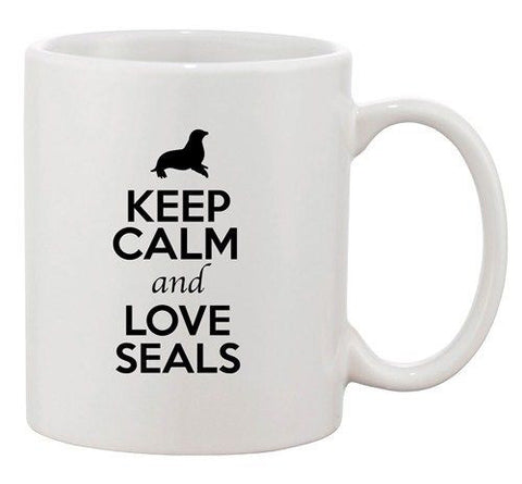 Keep Calm And Love Seals Sea Lion Animal Lover Funny Ceramic White Coffee Mug