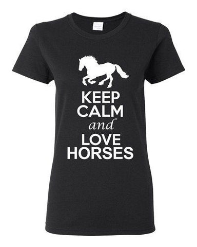 City Shirts Ladies Keep Calm And Love Horses Race Animal Lover DT T-Shirt Tee