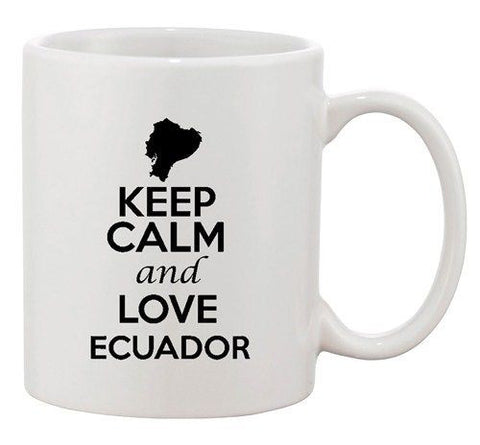 Keep Calm And Love Ecuador Quito Country Map Patriotic Ceramic White Coffee Mug