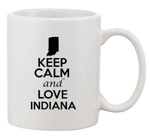 Keep Calm And Love Indiana Country Map Nation Patriotic Ceramic White Coffee Mug