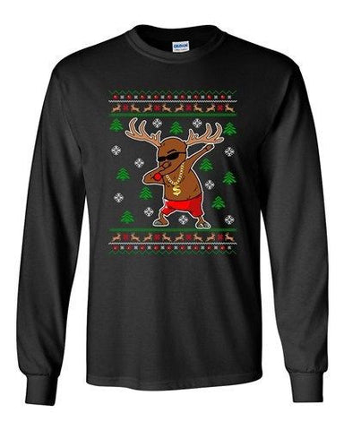 Long Sleeve Adult T-Shirt Rudolph Gangsta Reindeer Cool Ugly Christmas Funny DT