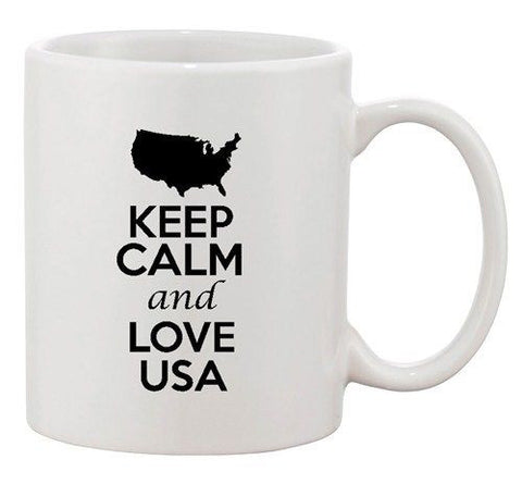 Keep Calm And Love USA America Country Map Patriotic Ceramic White Coffee Mug