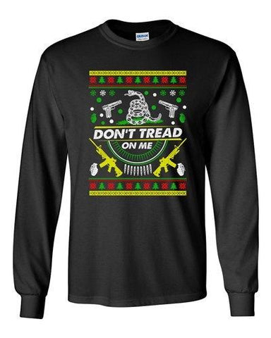 Long Sleeve Adult T-Shirt Don't Tread On Me Snake Weapon Gun Gadsden Flag DT