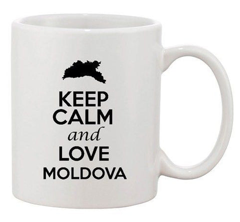 Keep Calm And Love Moldova Europe Country Map Patriotic Ceramic White Coffee Mug