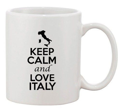 Keep Calm And Love Italy Rome Country Map Patriotic Ceramic White Coffee Mug