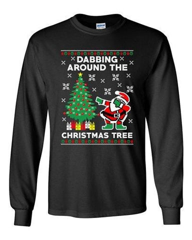 Long Sleeve Adult T-Shirt Dabbing Around The Christmas Tree Santa Xmas Funny DT