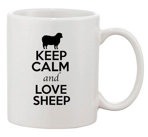 Keep Calm And Love Sheep Ram Farm Animal Lover Funny Ceramic White Coffee Mug