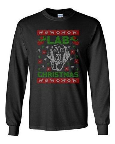 Long Sleeve Adult T-Shirt Lab Christmas Dog Paw Hound Ugly Christmas Funny DT