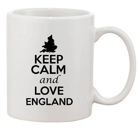 Keep Calm And Love England London Country Map Patriotic Ceramic White Coffee Mug