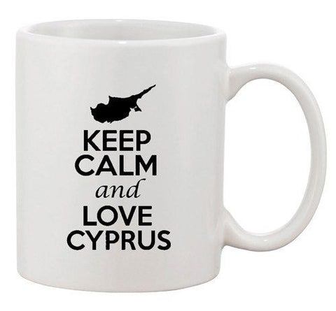 Keep Calm And Love Cyprus Europe Country Map Patriotic Ceramic White Coffee Mug