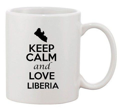 Keep Calm And Love Liberia Africa Country Map Patriotic Ceramic White Coffee Mug
