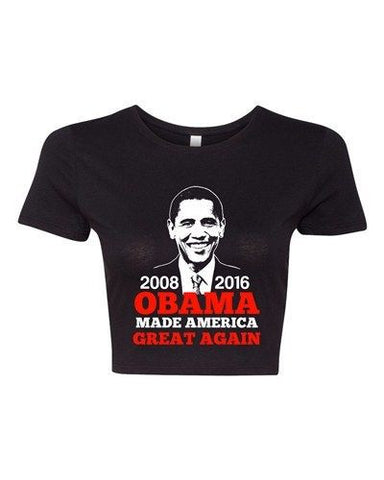 Crop Top Ladies President Barack Obama Made America Great Again USA T-Shirt Tee