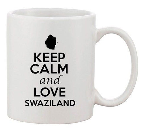 Keep Calm And Love Swaziland Country Map Patriotic Ceramic White Coffee Mug