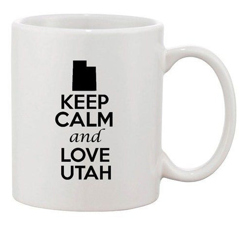 Keep Calm And Love Utah Country Map Nation Patriotic Ceramic White Coffee Mug