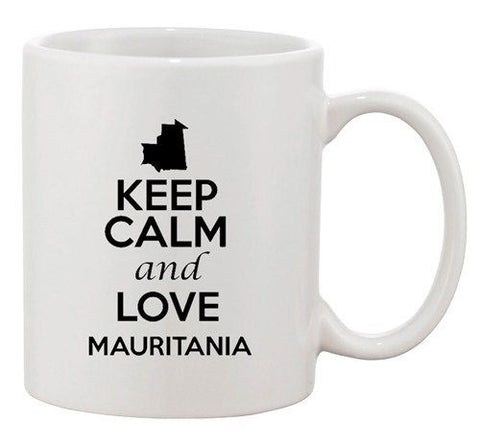 Keep Calm And Love Mauritania Country Map Patriotic Ceramic White Coffee Mug